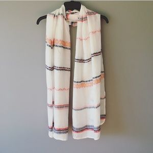 West Loop Sheer White Striped Rectangle Scarf